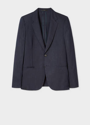 Paul Smith Men's Tailored-Fit Dark Navy Marl Unlined Wool And Linen Blazer