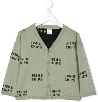 Tiny Cottons Fish & Chips pattern cardigan