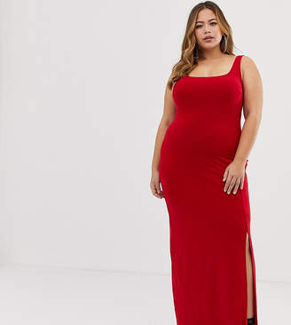Club L London Plus Plus square neck detail slinky maxi dress