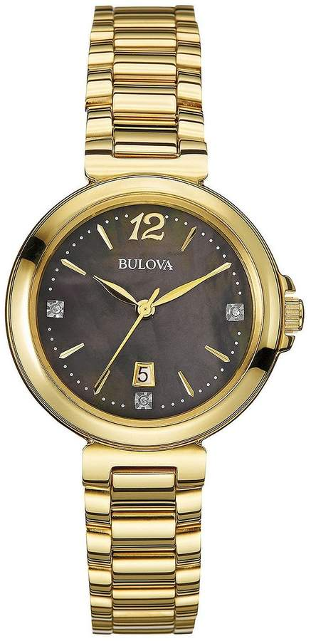 Bulova Women's 97P107XG Diamond Accents Black Dial Quartz Bracelet Watch (Certified Refurbished)