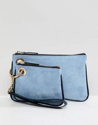 Asos DESIGN double zip top wristlet clutch bag