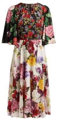 Dolce & Gabbana Rose And Hydrangea Print Silk Charmeuse Midi Dress - Womens - Black Multi