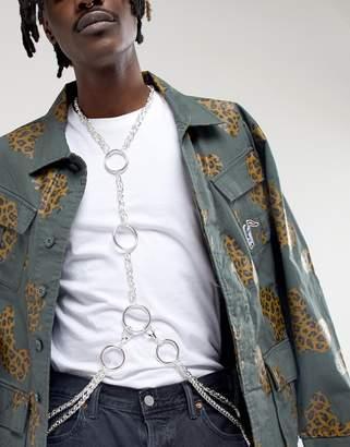 Asos Design DESIGN body harness in silver tone