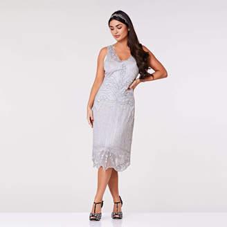 Gatsbylady London Elsa Midi Length Art Deco Flapper Dress In Silver 3033dfce0
