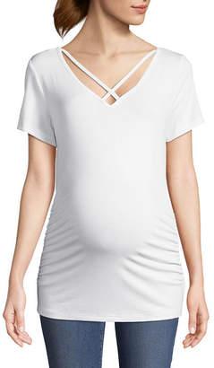 PLANET MOTHERHOOD Planet Motherhood Short Sleeve Cage Neck Tee - Maternity