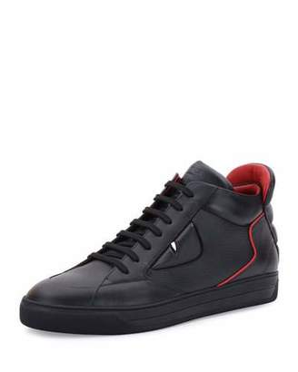 Fendi Monster Eyes Leather Mid-Top Sneaker, Black $900 thestylecure.com