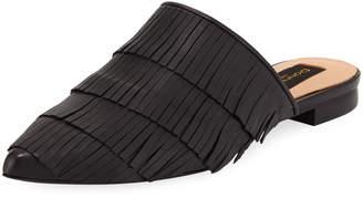 Donna Karan Paisley Fringe Leather Mule, Black