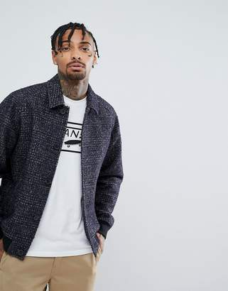 Asos DESIGN Wool Mix Harrington Jacket In Check