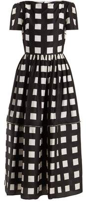 Christopher Kane Zip Hem Square Print Silk Dress - Womens - Black White