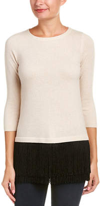 Sofia Cashmere sofiacashmere Sofiacashmere Fringe Cashmere Sweater