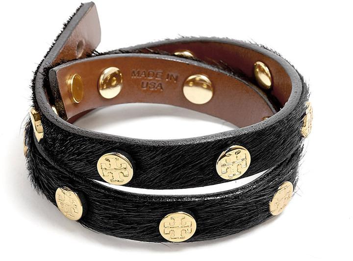 Tory Burch Black Logo Stud Double Wrap Bracelet
