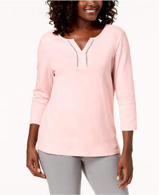 Karen Scott Cotton Lace-Trim Top, Created for Macy's