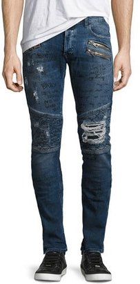 Just Cavalli Graffiti Moto Skinny Jeans, Blue $520 thestylecure.com