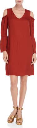 Ottod'ame Rust Cold Shoulder Shift Dress