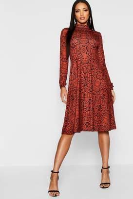boohoo High Neck Long Sleeve Snake Print Midi Dress