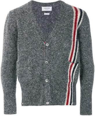 Thom Browne Rwb Intarsia Stripe Tweed Cardigan