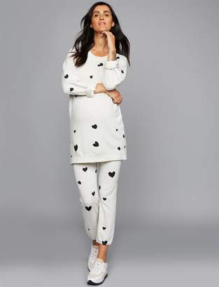 Monrow Pea Collection Under Belly Heart Print Maternity Jogger Pant
