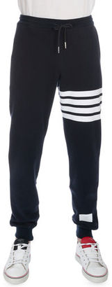 Thom Browne Classic Drawstring Sweatpants with Stripe Detail $590 thestylecure.com