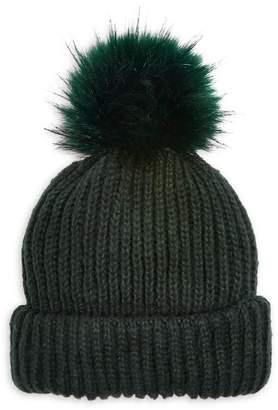 Topshop Knit Faux Fur Pom-Pom Beanie