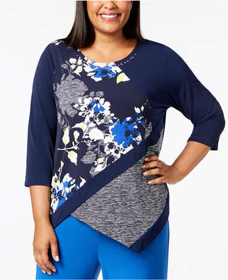 Alfred Dunner Plus Size Royal Street Asymmetric Tunic Top