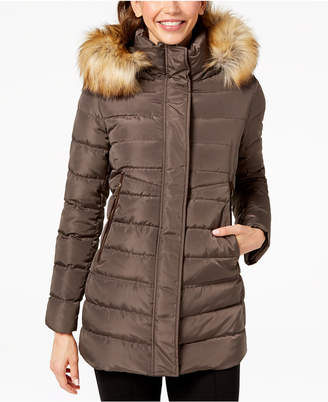 INC International Concepts I.n.c. Faux-Fur-Trim Hooded Puffer Coat