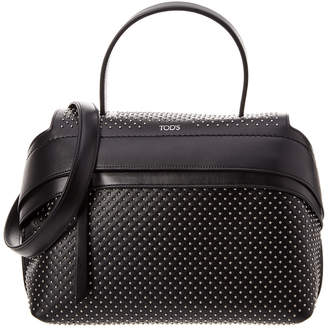 Tod's Wave Large Studded Leather Satchel