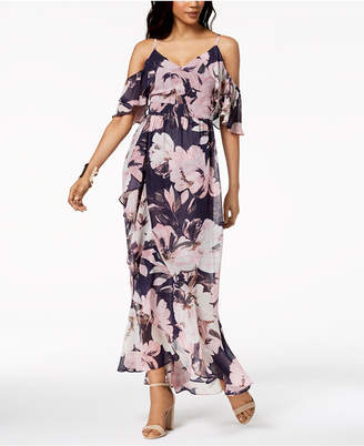 Vince Camuto Floral Printed Cold-Shoulder Chiffon Maxi Dress
