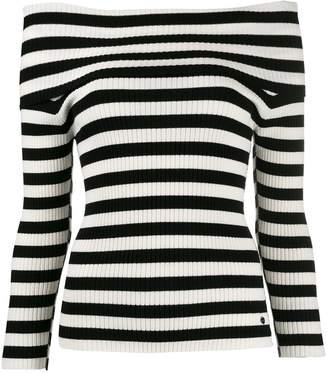 Twin-Set striped off shoulder jumper