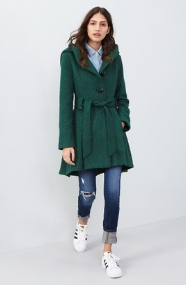 Women's Steve Madden Belted Hooded Skirted Coat $168 thestylecure.com