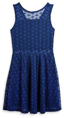 Aqua Girls' Lace Sheer-Cutout Dress, Big Kid - 100% Exclusive