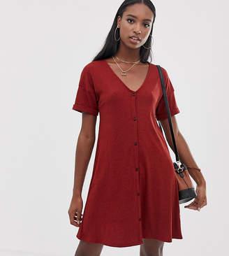 Asos Tall DESIGN Tall marl rib button through swing dress