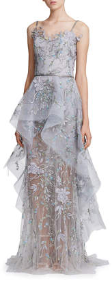 Marchesa Floral-Embroidered Tiered Tulle & Organza Peplum Gown