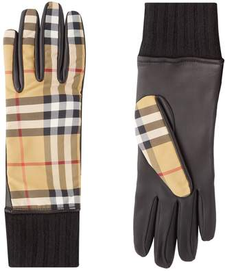 Burberry Cashmere-Lined Vintage Check and Lambskin Gloves