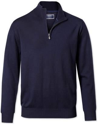 Charles Tyrwhitt Navy Merino Wool Zip Neck Sweater Size Large