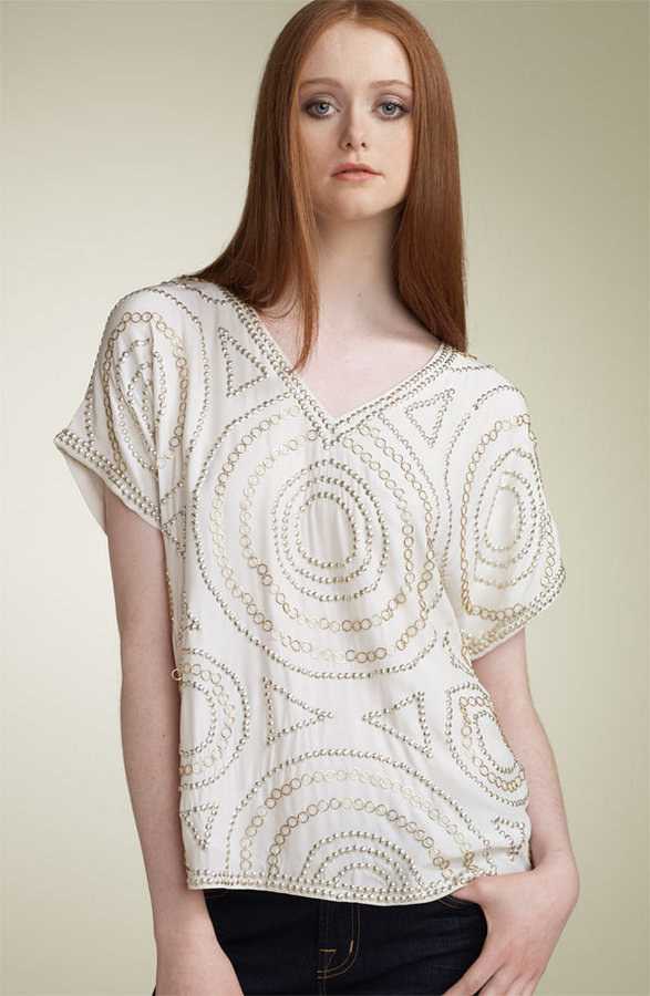 Haute Hippie Embellished Charmeuse Tee