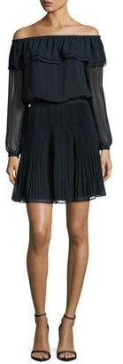 MICHAEL Michael Kors Off-the-Shoulder Pleated Dress, New Navy $155 thestylecure.com