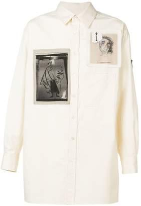 Yohji Yamamoto long shirt with photographic patches