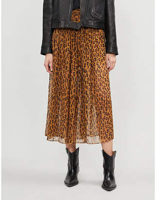 Free People Lydia leopard-print woven midi skirt