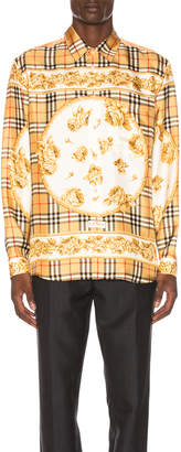 Burberry Paneled Scarf Print Silk Shirt