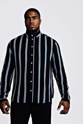 boohoo Big & Tall Stripe Print Shirt
