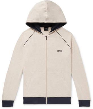 973938906 HUGO BOSS Melange Stretch-Cotton Jersey Zip-Up Hoodie