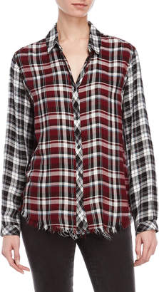 Catherine Malandrino Multi Plaid Frayed Hem Shirt