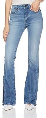 HALE Women's Lea High Waisted Flare Leg Jean With Side Zip