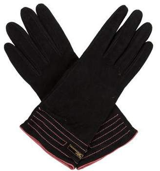 Blumarine Logo Suede Gloves w/ Tags