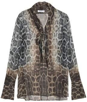 Equipment Woman Pussy-bow Leopard-print Silk-chiffon Blouse Animal Print Size M