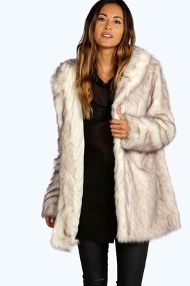 boohoo Boutique Hooded Faux Fur Coat