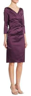 Talbot Runhof Ruched Satin Sheath Dress