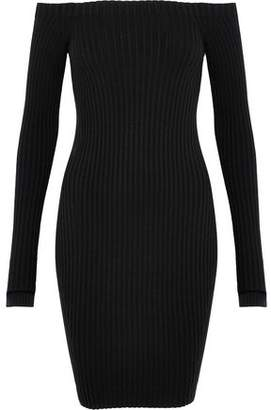 Helmut Lang Off-The-Shoulder Ribbed Silk-Blend Mini Dress