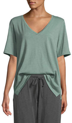 Eileen Fisher Short-Sleeve V-Neck Organic Cotton Slub Jersey Tee, Plus Size