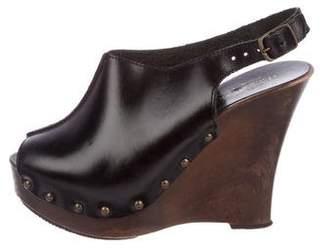 Charles David Leather Platform Wedge Sandals